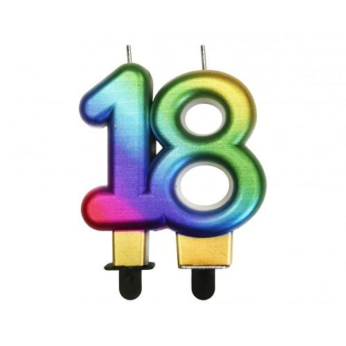 """ŚWIECZKA CYFERKA TĘCZOWA """"18"""""""
